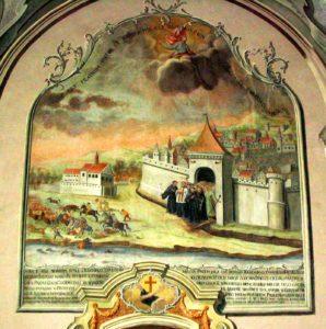 Kościół Franciszkanów w Przemyślu. Fresk przedstawiający cud św. Wincentego - błogosławieństwo relikwiami - uratowanie miasta przed Tatarami (1657) - Autor: Goku122 (CC-BY-SA-4.0,3.0,2.5,2.0,1.0)